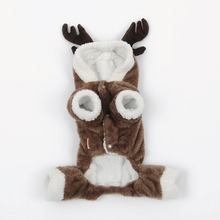 WARM Winter 4 Foot Pets Reindeer Christmas Deer Costume Dogs Cats Clothes Hoodie Apparel Puppy Teddy Cosplay Clothing lovely(China)