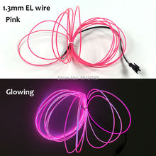 1.3mm (5Metre) EL Wire Rope tube LED Neon Thread Light With DC-3V Controller For Halloween, Advertisement, holiday lighting