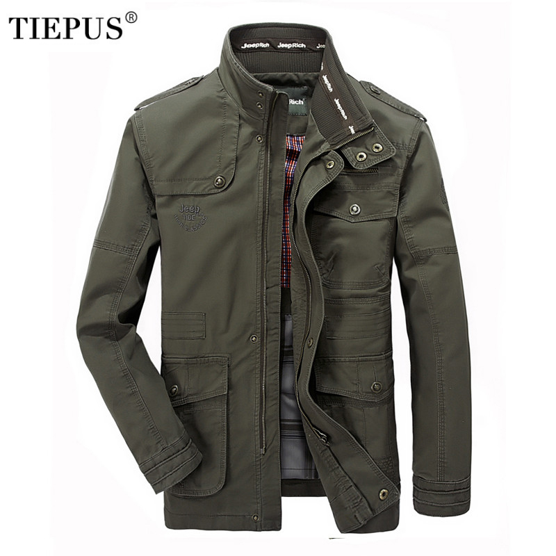 TIEPUS Jacket Men's Brand Fashion Cotton Jacket Men's Pilot Jacket Plus Size M~5XL,6XL, 7XL Casual Military Jacket