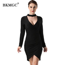 Sexy Women Dress Above Knee, Mini Dress Womnes Bow Collar Deep V Neck Elegant Empire Autumn New Lady Long Sleeve H19-17918B(China)