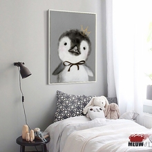 [EMEOWJI] Watercolor Animals Cute Penguin Bunny Canvas Modern Art Print Poster Wall Pictures For Kids Home Decoration Wall Decor(China)