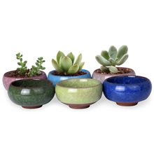 "2.5*1.3"" Flower Pot China Ice-crack Style Ceramic Succulent Planter Pots Flower Plastic 6 Colors Nursery Garden Desk Home Decor"