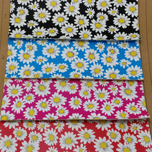 91CM X137CM High Quality Fabric For Furniture, PU Leather Fabric, Faux Leather Fabric Synthetic Printed Daisy Flower Leather P28(China)