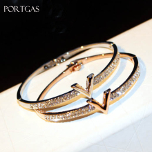 Letter V CZ Crystal Arm Bracelet Bangles Jewelry Luxury Bracelets for Women Arm Cuff pulseiras para as mulheres(China)