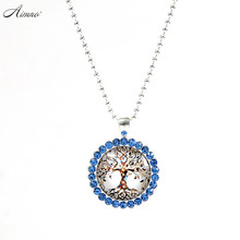 beauty and the beast Life Tree Pictures Necklace Synthetic Diamonds Necklace Chain Fashion Silver Color Jewelry Gifts I001