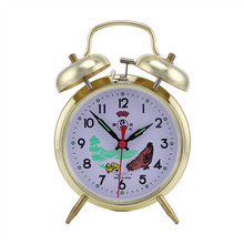 Classic Circular Pointer Plated Metar Double Bell Needle Clock Loud Move Mechanical Quartz Alarm Clock Silent Desk Bedside Lock
