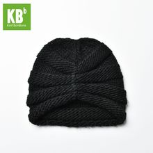 2017 KBB Spring Winter Comfy Cute Black Ridged Pattern Designe Yarn Knit Delicate Winter Hat Beanie for Women Men Adult(China)