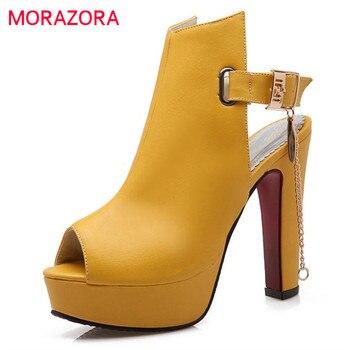 Morazora 2017 sandálias de verão sapatos de salto alto tamanho grande 34-43 sapatos de plataforma bombas peep toe fivela sapatos de festa elegante moda