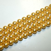 "The Free Transport Natural Yellow Shell Pearl Ball Jewelry Making Diy  Bracelet Necklace 6 / 8 / 10/ 12 MM 15 ""Strand Wholesale"