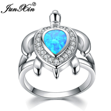 JUNXIN Unique Female Blue Fire Opal Ring Fashion Turtle Ring Gold Filled Animal Jewelry Vintage Wedding Rings For Women