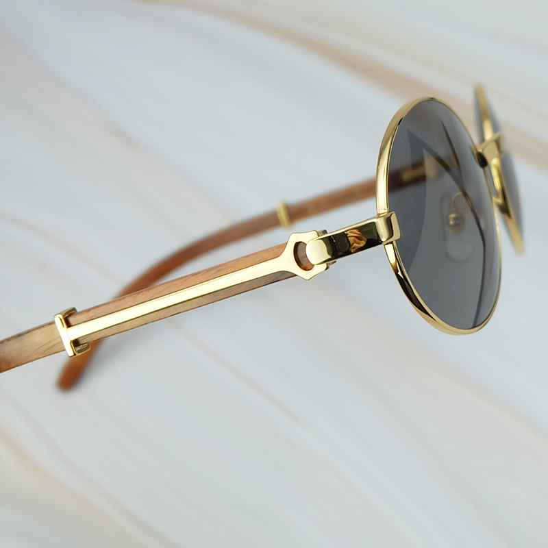 Round Metal Clasic Oval Sunglasses Full Frame Gold General Wood Glasses Men And Wen Eyewear (2)
