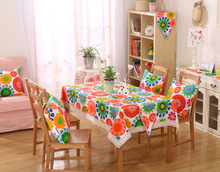 Linen Table Cloth Country Style Flower Print Multifunctional Rectangle Table Cover Tablecloth with Lace Edge