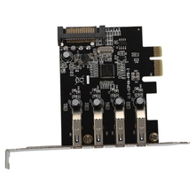 4-Port SuperSpeed USB 3.0 PCI Express Controller Card Adapter 15-pin SATA Power Connector Low Profile