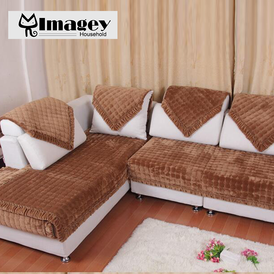 Image Hot! Winter sofa cover for sectional sofa couch purple red slip resistant sofa towel Two Three Four seater 1pc pricess palace
