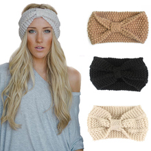 Winter Warmer Ear Knitted Headband Turban For Women Lady Crochet Bow Stretch Hairband Headwrap Hair Accessories