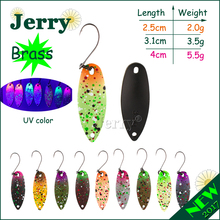 Jerry 1pc brass trout spoons matt colors high quality fishing spoon freshwater fishing lures spinners(China)