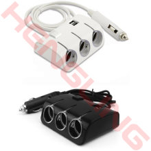 Car Cigarette Lighter 12V Plug Power Adapter Output 120W 5V Dual USB Port 3 Way Socket Splitter Charger(China)