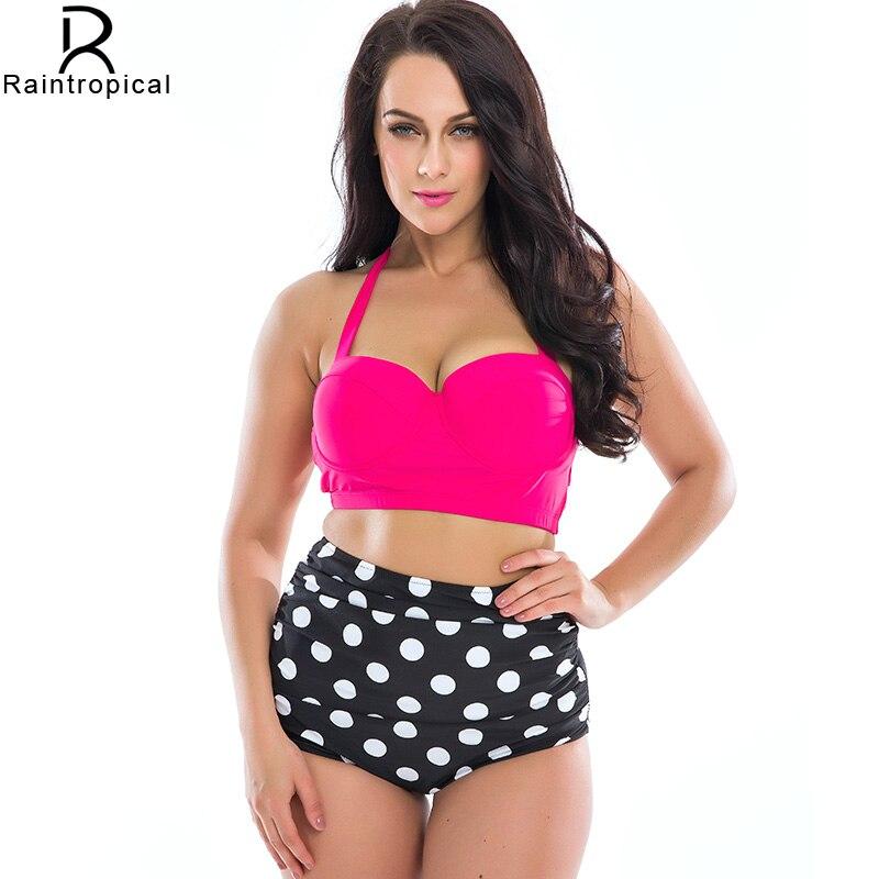 2017 New Bikinis Women Plus Size Swimwear High Waist Swimsuit  Halter Top Bathing Suits Retro Vintage Dot Push Up Bikini Set 4XL<br><br>Aliexpress