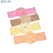 2pcs/lot Soft Stretchy Lace Headband with Rhinestone Button Centered Chiffon Flower Fabric Floral Hairband Girl Headwear FD256