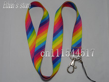 Free Shipping 100% polyester rainbow phone lanyard mobile neck strap(China)