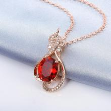 Women's Rose Gold Plating Zircon Pendant Necklace Chain Fashion Fine Jewelry Wholesale Gifts Collection For Women N894-B