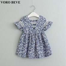 VORO BEVE Summer Baby Girl Dress Blue and White Porcelain Hollow Hood Sleeve Dress Fashion Children Clothes