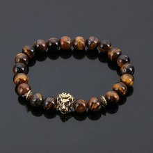 Fashion Jewelry Gold Buddha Leo Lion Head Bracelet Black Lava Stone Beaded Bracelets Pulseras Hombre For Men Women