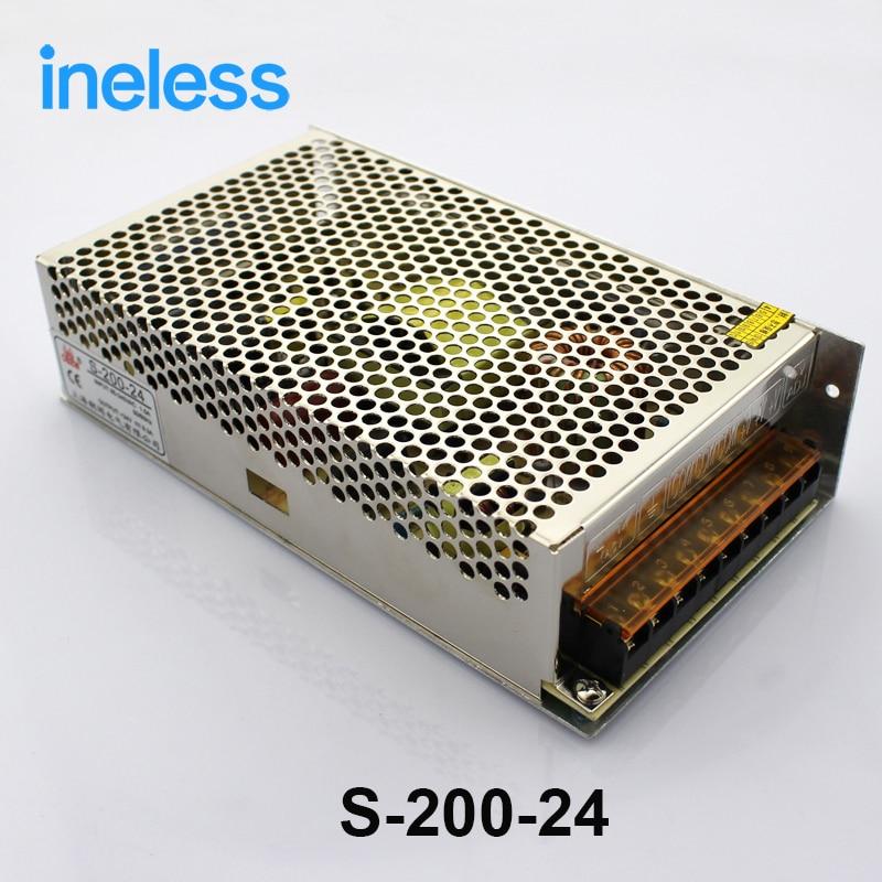S-200-24 led power supply switch 200W 24v 8.5A ac dc converter unit 24v variable dc voltage regulator adjustable output voltage<br>