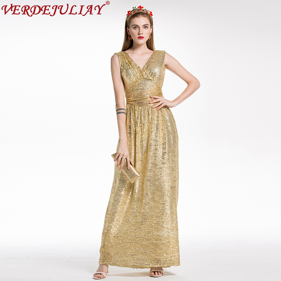Runway Sexy Dresses 2019 Spring High Quality New V-Neck Sleeveless Sequined Floor Length Long Women Empire Yellow d Dress