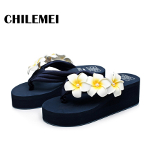 High heels flip flip wedges ladies outdoor slipper summer outside flipflop women summer shoes flower high quality china(China)
