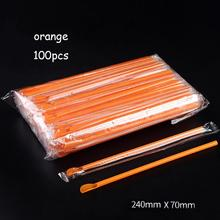 100Pcs Flexible 2 in 1 Party Plastic Juice Straw Spade Disposable Ice Tea Bar Party Tool Orange Blue Color Straw 3