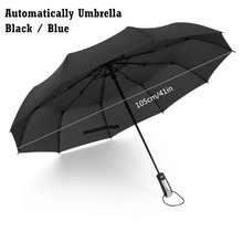 Automatic 10-Rib Folding Umbrella Strong Windproof Super Wide 46 Inch Outdoor Leatheroid Handle Black Blue Rain Umbrellas