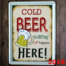 COLD BEER HERE New large Tin plate signs movie poster Art Cafe Bar Vintage Metal Painting wall stickers home decor 30X40 CM(China)