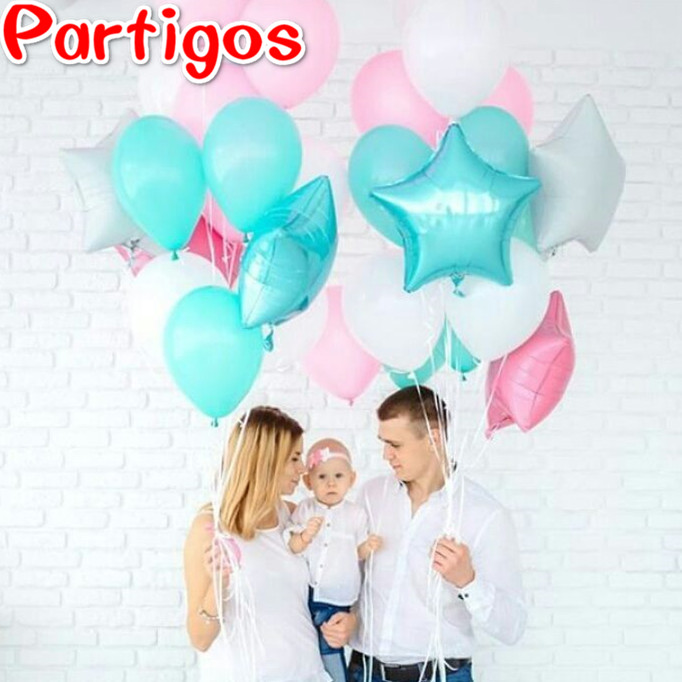13pcs/lot 10 inch Tiffany Blue Pink Latex balloons 18 inch white star baby girl birthday party decor inflatable air balls