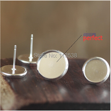Free gift silver Plated 8 10 12 14mm Pad Earring Base Earring Blanks NICKEL Lead FREE Earring Back 100pcs/lot jewelry finding
