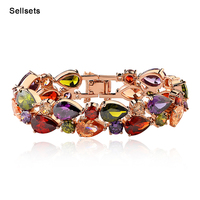 Hotselling 17cm and 19cm  Rose Gold Plated Cubic Zirconia Bracelets & Bangles Fashion Jewelry Bracelet