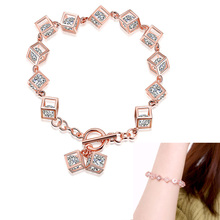 New 925 Sterling Silver Rose  Zircon Cube Bracelet Bangle Jewelry Gift For Women 88 @M23