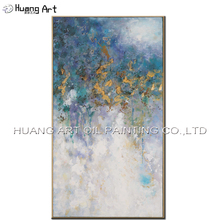 New Design Oil Painting Works Art Handmade Modern Gold and Blue Abstract Landscape Painting On Canvas Hotel Home Decoration