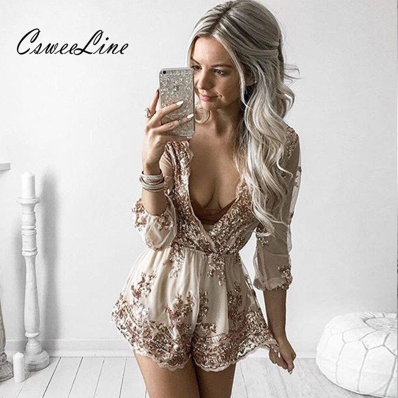 Deep V Neck Embroidery Sequin Rompers Womens Jumpsuit Fashion Long Sleeve Sequins Short Jumpsuit Summer Ladies Playsuit Overalls