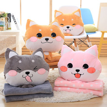 Cute Cartoon Dog Plush Pillow Removable Soft Stuffed Plush Toys Sleep Warm Hands Pillow +Flannel Blanket For Kids Girl Gift P20(China)