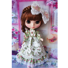 1/6 Blyth doll green strawberry lace dress with bowknot pure and fresh clothes for doll BJD pullip JL033 jecci Doll Accessories