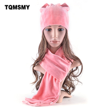 TQMSMY New style winter hats for women's soft velvet beanies Lovely girls cat ears cap Ladies autumn bone 2 Pieces Hat Scarf set(China)