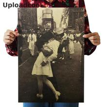 Uploadcool _ In World War II kiss Local Complex kraft paper decorative old Poster Victory Cafe Bar 51 x 35.5 cm