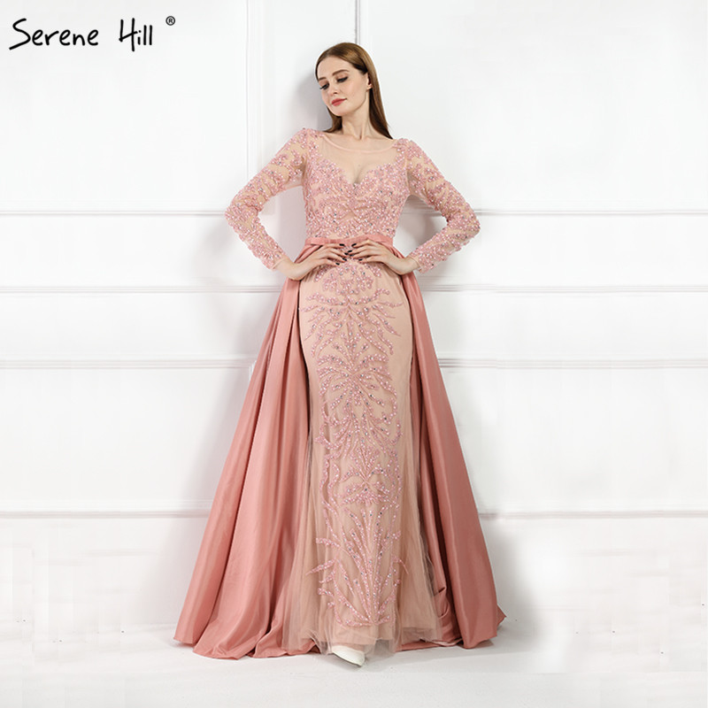 Luxury Pink  Mermaid  Evening Dresses Emeradald  Green Train Long Sleeves Beading Crystal Evening Gown 2019 LA6172(China)