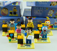 Cute Doll In Toys Doraemon Cartoon Mini Figures Lot Plastic Building Blocks Bricks Compatible With Lego DIY Toys For Children 6p(China)