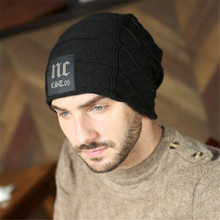 7017 Hats Male Fashion Black Snowboard Beanies Caps Man Brand Leisure Skull Cap  Mens Fur Lining Warm Winter Skullies Caps