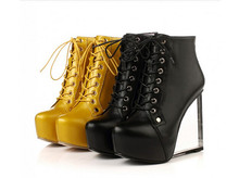 PXELENA Design Luxury Fashion Woman Ankle Boots Suede Leather Round Toe Transparent Wedge High Heel Platform Lace Up Boots Shoes