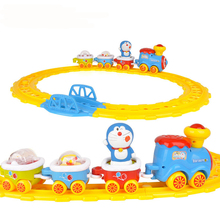 Funtree Real Kids Toys Vintage Children Car Doraemon Model Tractor Music Electric Wheel Slot Train Vehicle Track Railway Set