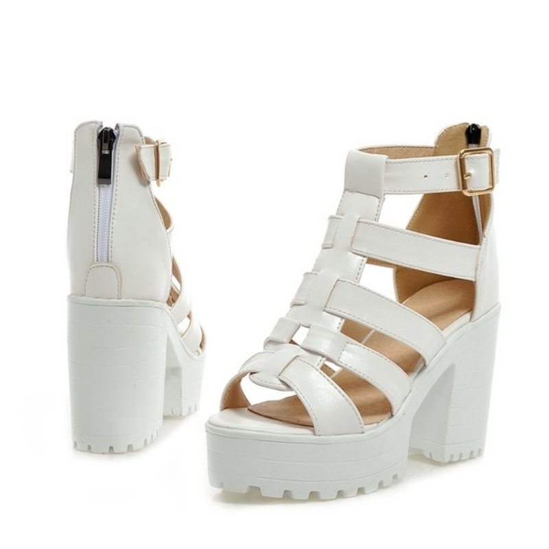 New Fashion Rome Style Shoes, Women Solid Peep Toe Gladiator Shoes, Buckle Platform Women Sandals 7