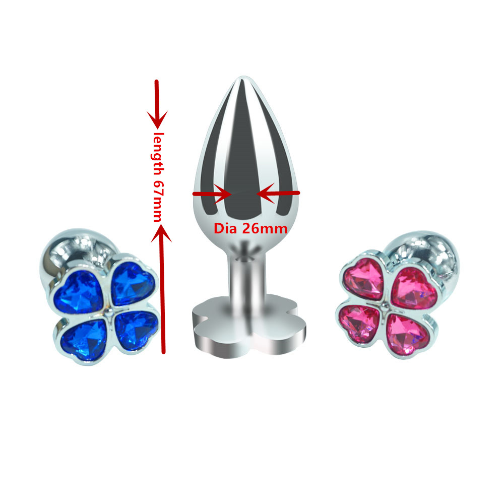 Dia 26mm*length 67mm small size new design four leaf cover Metal Anal plug jewelry butt beads dildo Sex toys for men women 3